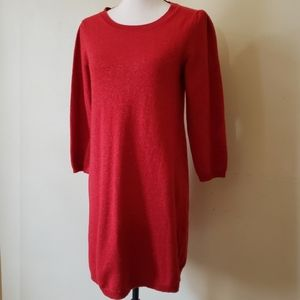 BR Sparkly Red Cashmere Wool Sweater Dress
